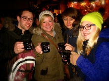 Drinking punch at the christkindlmarkts.