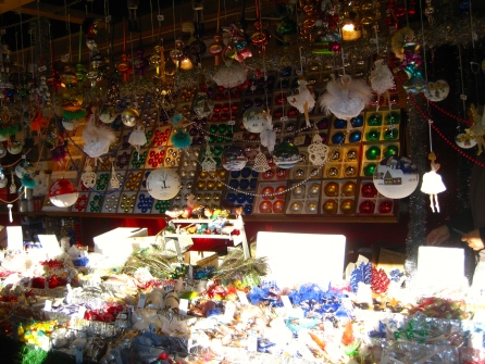 Handblown christmas ornaments at the christkindlmarkt.