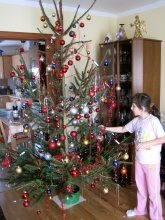 Alenka decorating the Christmas tree