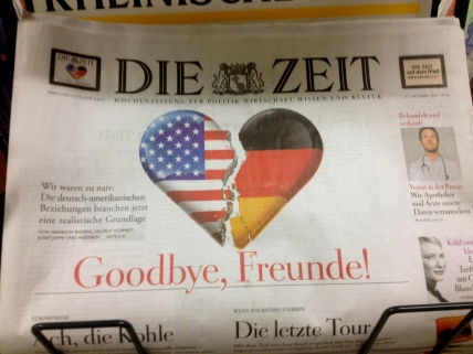 German newspaper with article about US spying on Angela Merkle