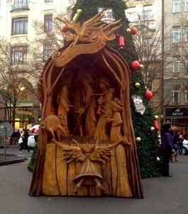 hand carved nativity at Václavské náměstí
